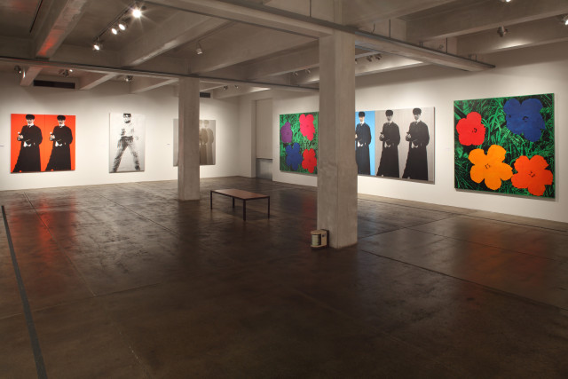 Installation view of Deborah Kass: Before and Happily Ever After with views of Kass's Double Double Yentl (My Elvis), 1992 (Courtesy of Andy Warhol Museum)