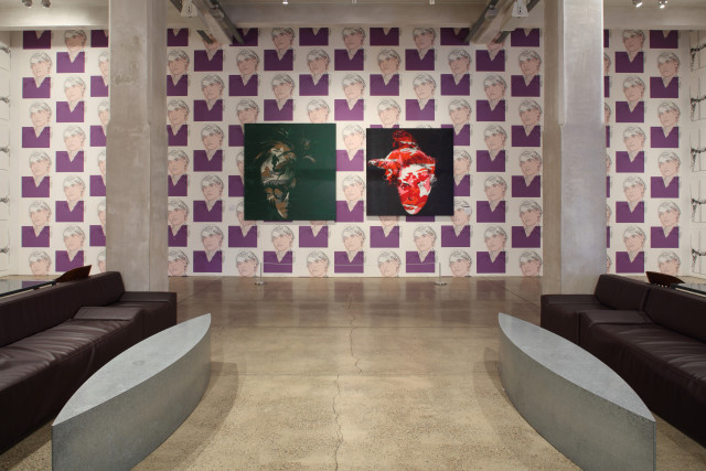 Installation view of the Warhol Museum lobby during Deborah Kass: Before and Happily Ever After