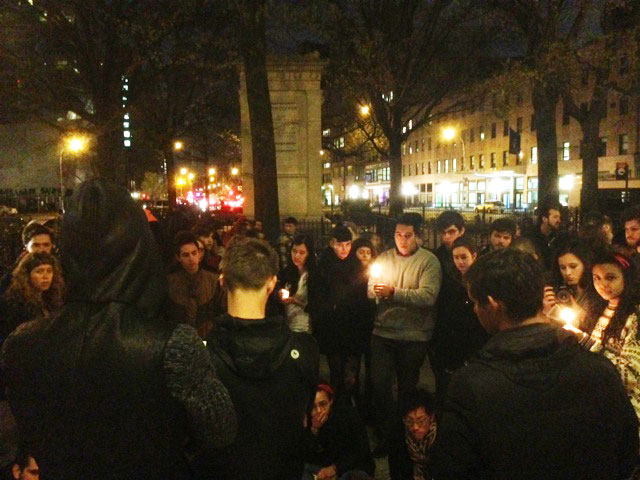 A group of Cooper Union students holds vigil earlier tonight, in the wake of an announced tuition hike at the formerly free institution (All images by the author for Hyperallergic unless otherwise noted)