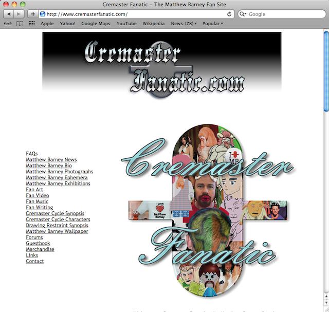 "Eric Doeringer, ""www.CremasterFanatic.com"" (2004–13), website (courtesy the artist)"