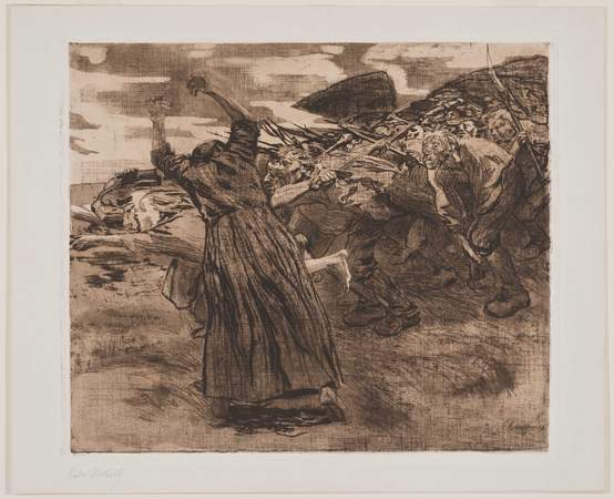 """Käthe Kollwitz, """"Outbreak (Losbruch)"""" (1902), etching and aquatint. Collection UCLA Grunwald Center for the Graphic Arts, Hammer Museum. Anonymous gift. (via hammer.ucla.edu)"""