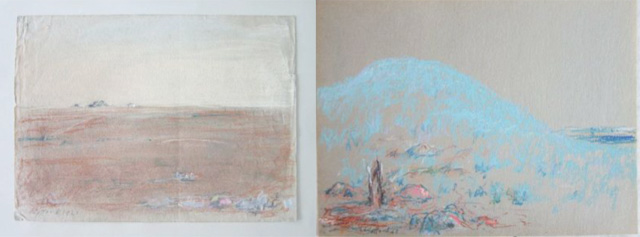 An early (left) pastel work by Still dating from 1923 and a late work (right) in the same medium from 1968.