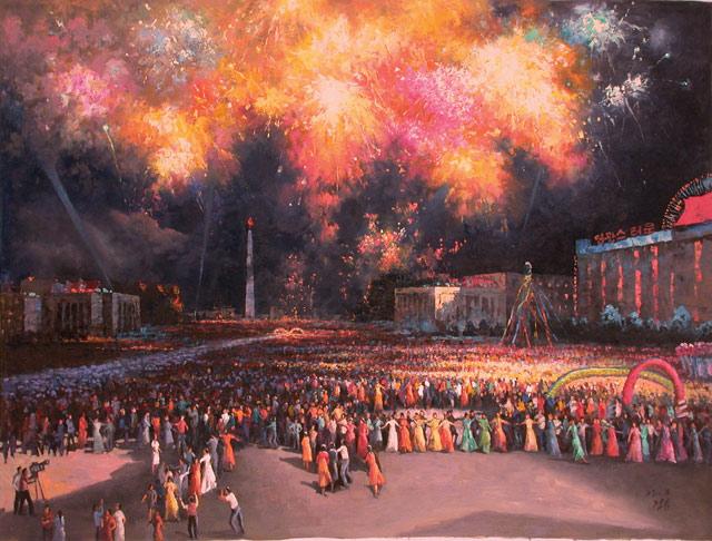 """Han Guang Hun, """"Dance Party in Open Air"""" (2006), oil, 78 x 103 cm (via mansudaeartstudio.com)"""