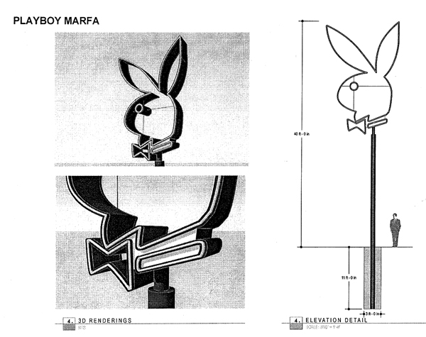 Detail and scale of the Playboy Marfa bunny. (image courtesy Big Bend Sentinel and used with permission)