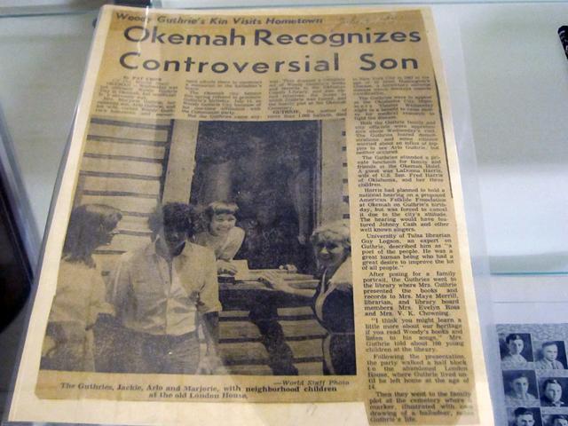 Newspaper in the Okemah Historical Society in Okemah, Oklahoma