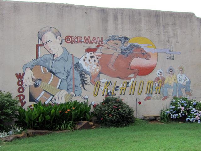 Woody Guthrie mural in Okemah, Oklahoma