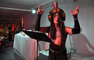 Guillermo Gómez-Peña performing during Friday night's performance.