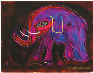 Elephant painted by Anthony Hopkins (via the Guardian, copyright Sir Anthony Hopkins)