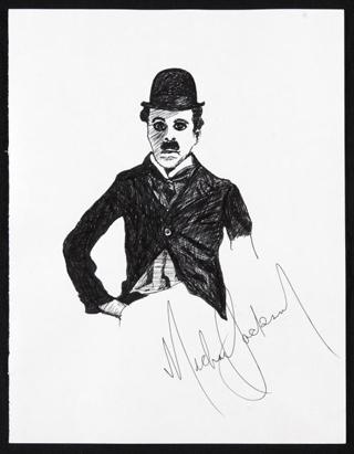 Michael Jackson's drawing of Charlie Chaplin (via mjjcollectors.com)