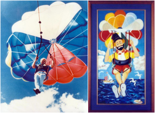 Red Skelton parasailing, and a painting of a clown inspired by the adventure (via redskelton.com)