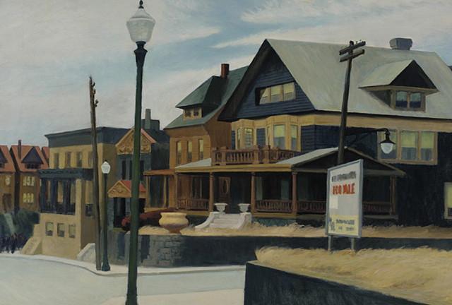 "Edward Hopper, ""East Wind over Weehawken"" (1934), oil on canvas, 34 x 50¼ in (John Lambert Fund, Philadelphia Academy the Fine Arts) (via pafa.org)"