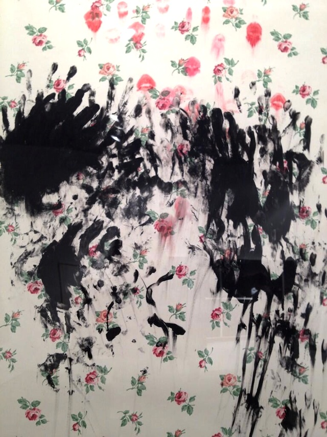 "Laurel Nakadate, detail of ""Interior, II,"" (2012). Ink, lipstick on wallpaper."