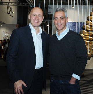 Nothing says successful event like when the Mayor shows up. Here Expo Chicago's  Tony Karman with Chicago Mayor Rahm Emanuel.