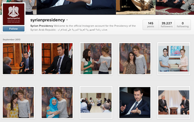 A screenshot of the syrianpresidency Instagram page