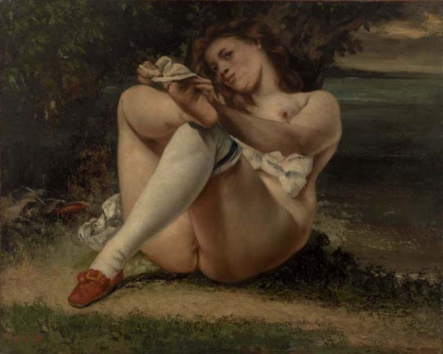 """Gustave Courbet, """"Woman with White Stockings,"""" 1864, Oil on canvas, 25 9/16 x 31 7/8 in. Image © 2013 The Barnes Foundation"""