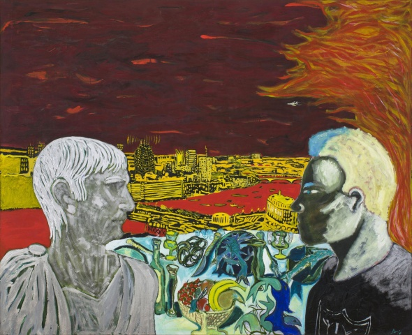 """Peter Doig, """"Contemplating Culture"""" (1985), oil on canvas, 76 3/4 x 95 inches (195 x 241.5 cm)"""