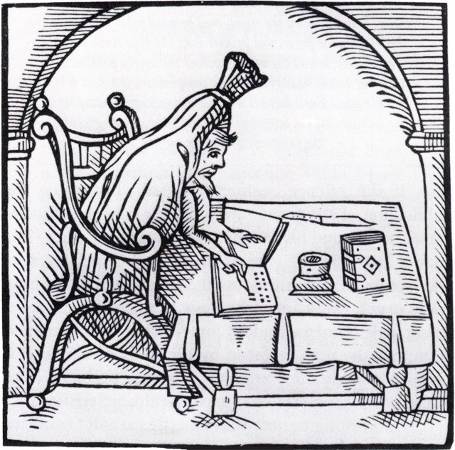 A woodcut of Robert Greene writing in his burial shroud, symbolizing that his words come from beyond the grave. This woodcut is from the title page of English author and Greene- follower John Dickenson's Greene in conceipt: New raised from his grave to write the Tragic History of Valeria of London (1598) . Picture acquired through Wikimedia Commons. Image public domain.