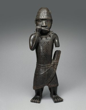 Edo. Figure of a Hornblower, ca. 1500-1550. Copper alloy, 24 1/2 x 8 1/2 x 6 in. (62.2 x 21.6 x 15.2 cm). Brooklyn Museum, Gift of Mr. and Mrs. Alastair B. Martin, the Guennol Collection, 55.87. Creative Commons-BY Image: front, 55.87_front_SL1.jpg. Brooklyn Museum photograph