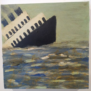 """Squeak Carnwath, """"Ship #2″ (2012), oil and alkyd on canvas (click to enlarge)"""