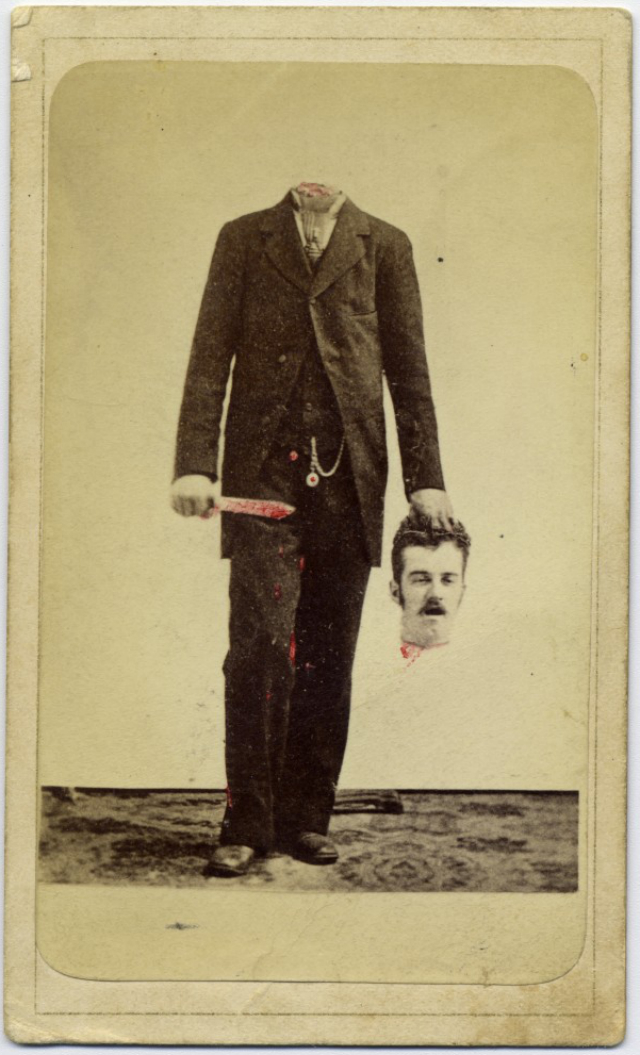 A trick photograph of a man holding his own head (1875) (via George Eastman House Collection)