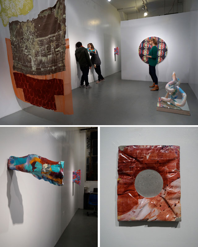 """Clockwise from top: installation view, """"Space Heater"""" at Harbor Gallery; Letha Wilson, """"Rock Hole Punch (Bryce Canyon)"""" (2014), unique C-print and concrete, 13 x 10 3/4 x 1 3/4 in; Rachael Gorchov, """"NJ Turnpike skies seen from Paonia, CO"""" (2012), acrylic on papier mache and burlap, 6 x 7 x 22 in (in foreground) (all photos by the author for Hyperallergic)"""