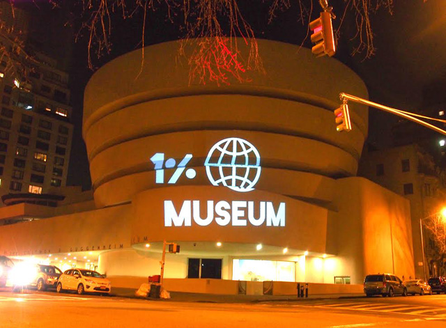Last night's projection on the facade of the New York Guggenheim. (all images courtesy Gulf Ultra Luxury Faction, aka G.U.L.F.)