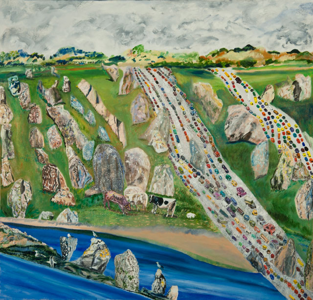 """Olive Ayhens, """"Carnac"""" (2011), oil on canvas, 39 x 40 in"""