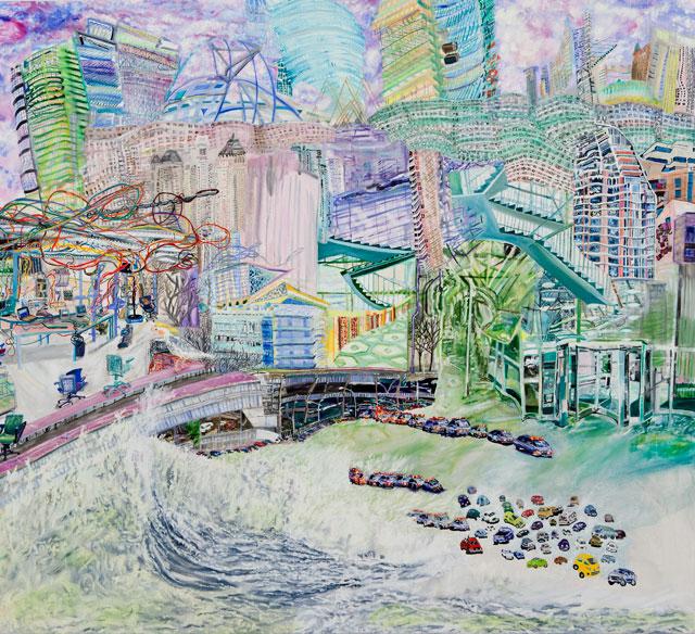 "Olive Ayhens, ""Flecks in the Foam"" (2012), oil on canvas, 59 x 67 in"