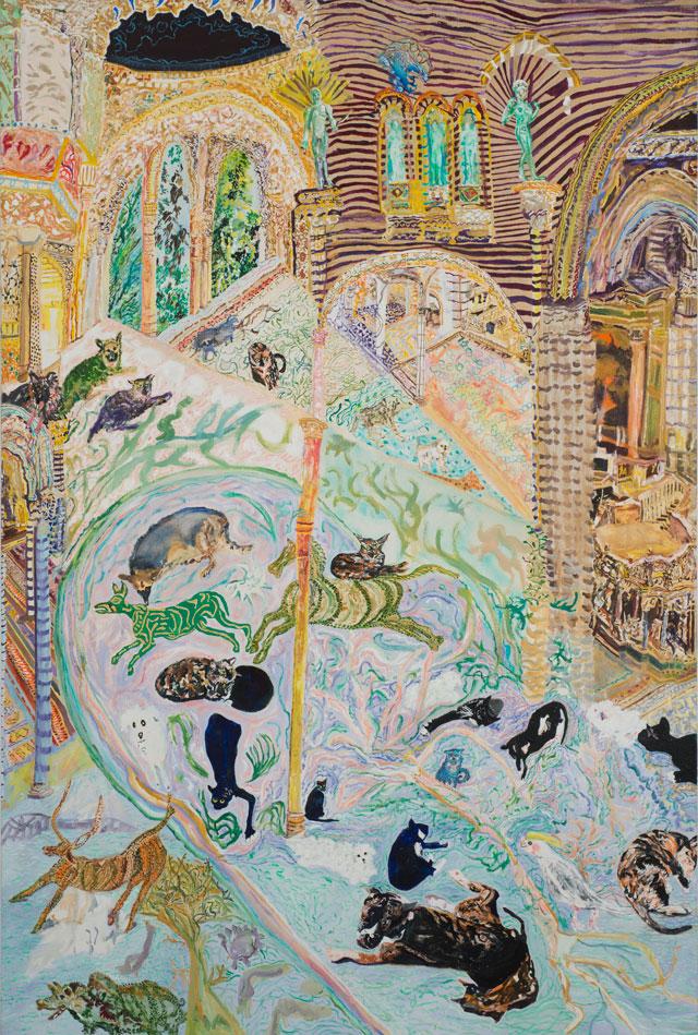 "Olive Ayhens, ""Memories of Beasts Past"" (2013), oil on linen, 47 x 32 in"