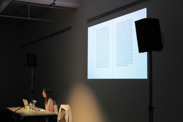 Frances Stark, Artists on Artists, Dia Art Foundation, 535 West 22nd Street, New York City, June 16, 2014 (photo by Erin Goldberger)