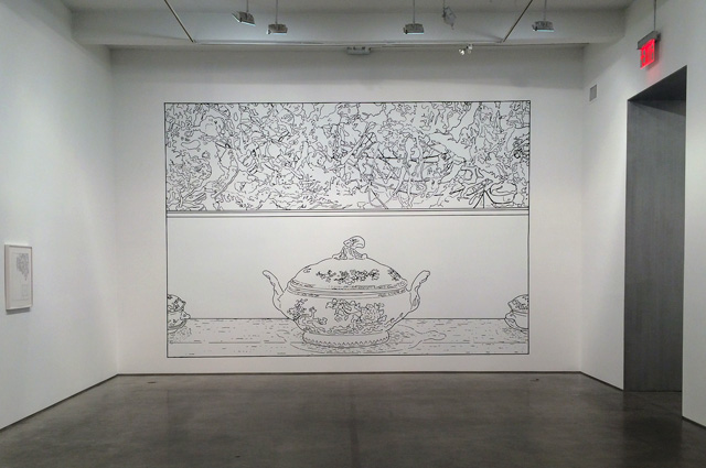 """Louise Lawler's """"Pollock and Tureen"""" (1984) has been transformed into a colorless linear drawing on vinyl."""