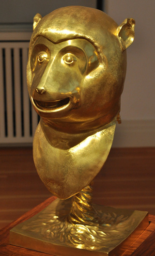 """The monkey in Ai Weiwei's """"Circle of Animals"""" (2011), 12 bronze statues with gold plating (click to enlarge)"""