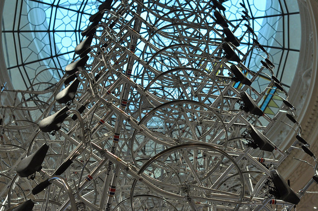 """A detail of Ai Weiwei's """"Very Yao"""" (2009–14), 150 bicycles (all photos by the author for Hyperallergic)"""