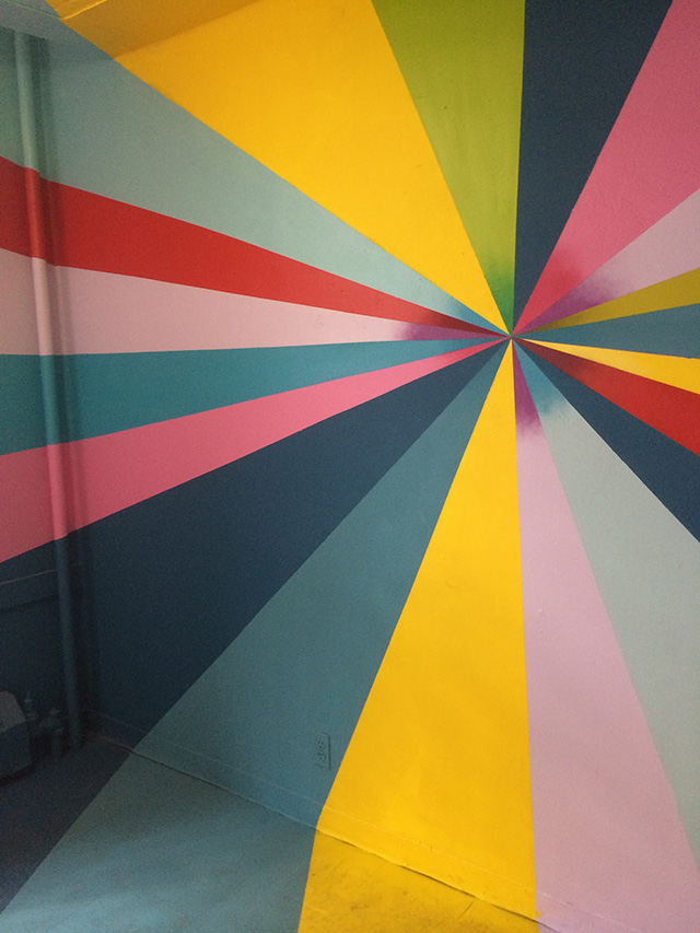 Colorful rooms typified the vibe at 21st Precinct (all photos by the author for Hyperallergic)