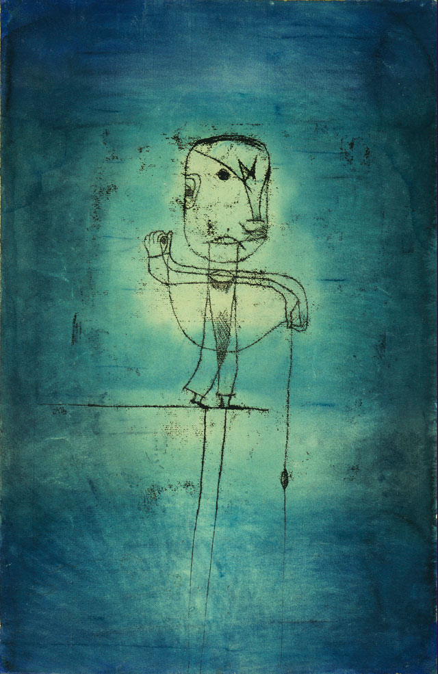 """Paul Klee, """"The Angler"""" (1921), watercolor, transfer drawing and ink on paper, 18 7/8 x 12 3/8 in (50.5 x 31.8 cm) (The Museum of Modern Art, New York, John S. Newberry Collection, digital image © 2014 The Museum of Modern Art/Licensed by SCALA/ Art Resource, NY © 2014 Artists Rights Society [ARS], New York) (click to enlarge)"""