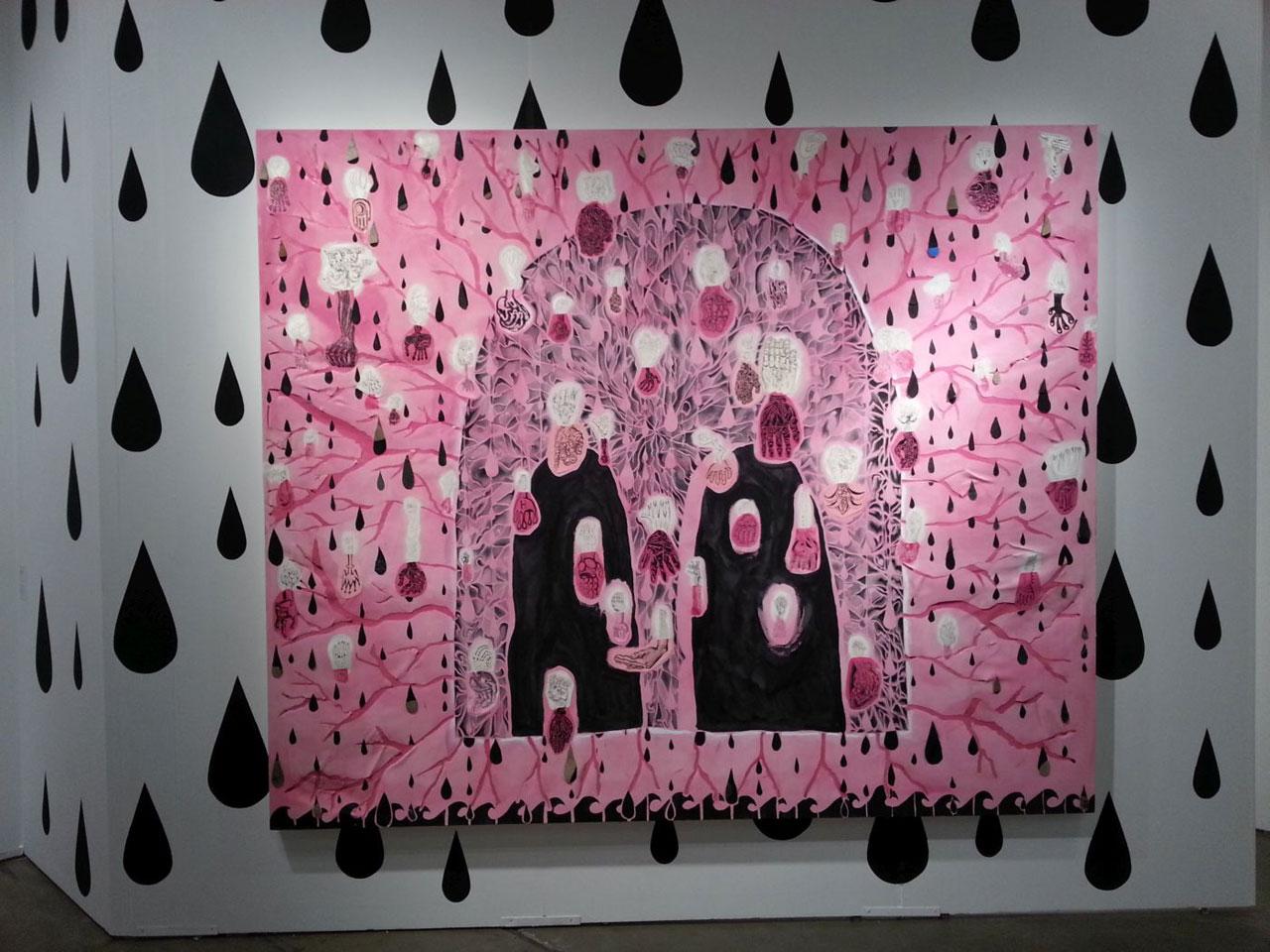 """Trenton Doyle Hancock, """"Campbell's Streetlight"""" (2010), acrylic and mixed media on canvas, 90"""" x 108"""""""