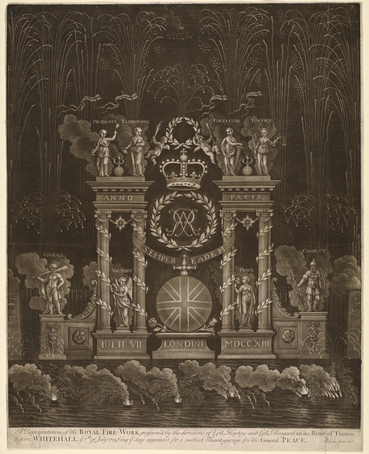 Mezzotint of a firework machine used on July 7, 1713 in London (1713) (via Getty Research Institute)