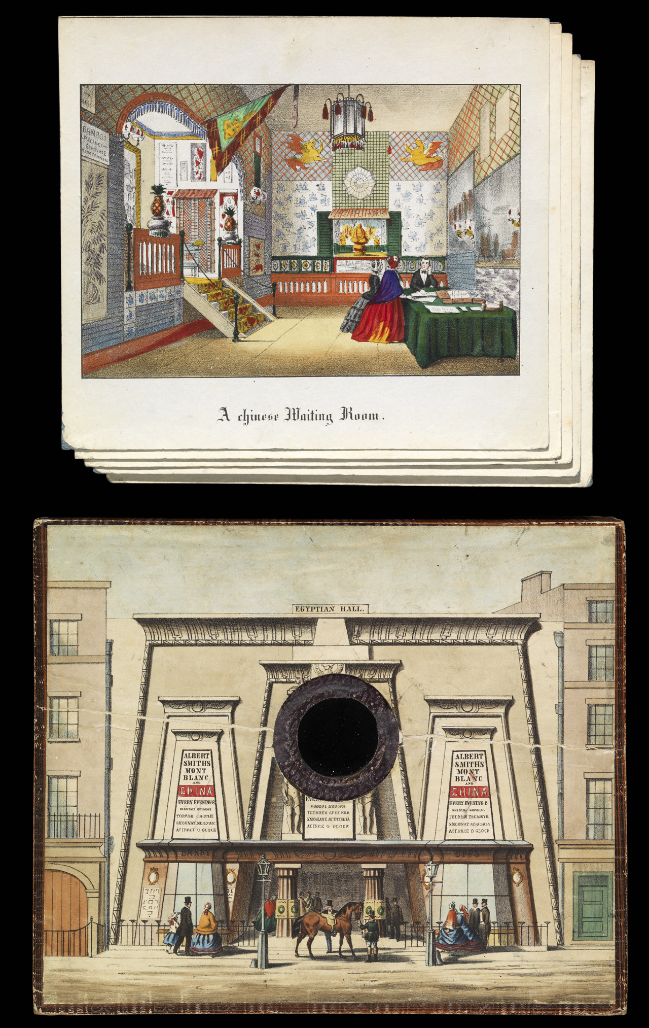 Albert Smith's miniature theater with lithographic views of Egypt and China (1859) (via Getty Research Institute)