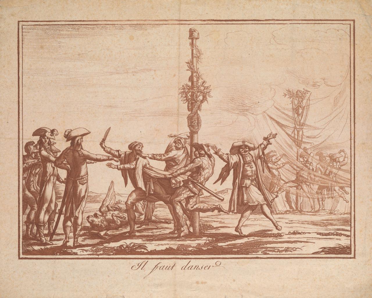 """""""Il faut danser!"""" (~1797), etching (via Getty Research Institute)"""