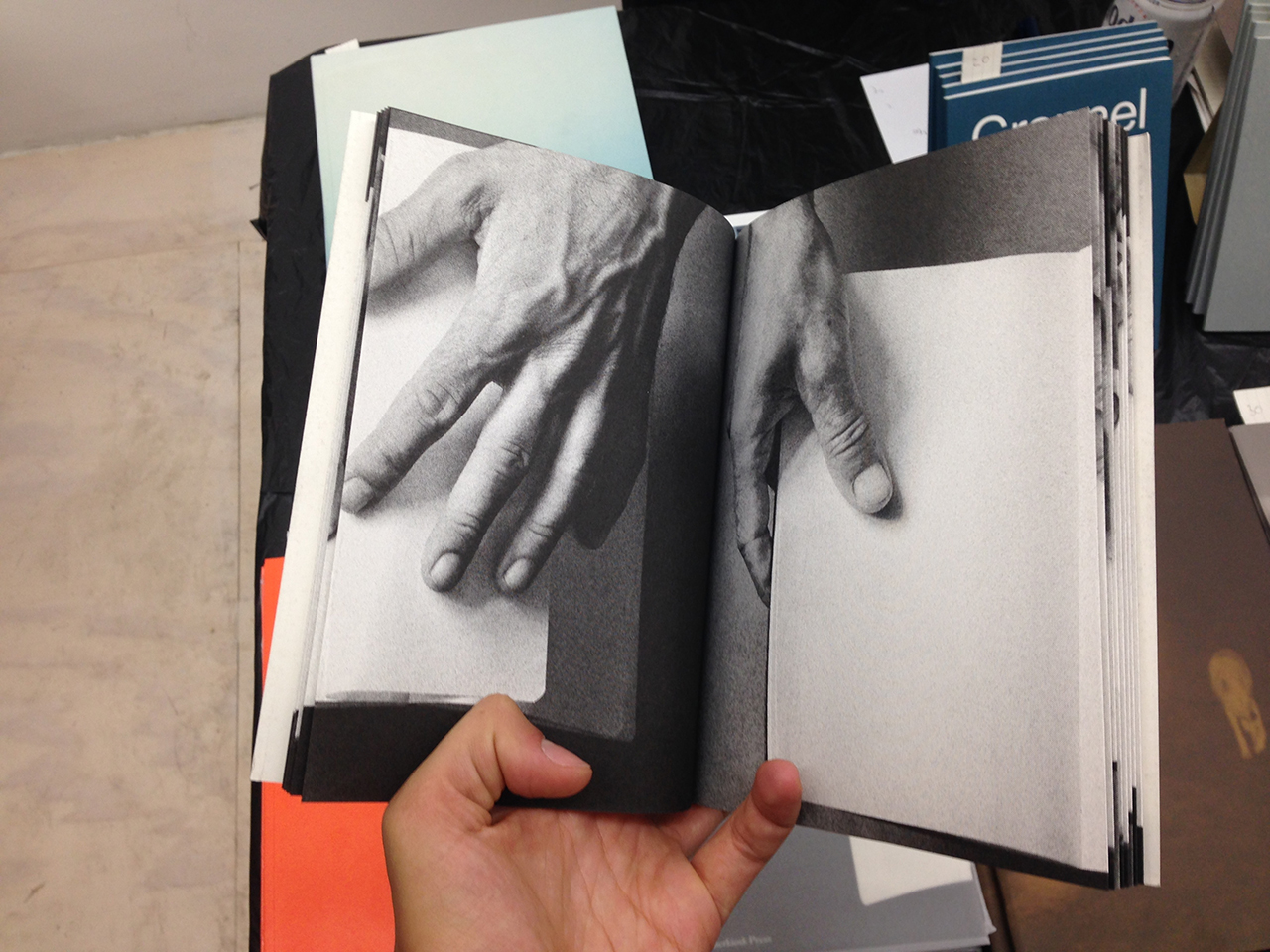 Emil Salto, One Hand, and the Other, 2014. Black/White Risoprint, 19 x 14.5 cm. 28 pages, 28 images. Cornerkiosk press 2014