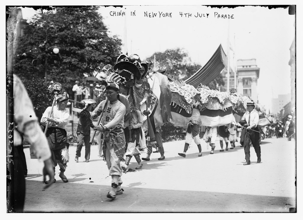 """China in N.Y. 4th of July Parade, 1911. The large and prosperous community of Chinese residents in Marysville, California acquired this ceremonial dragon from China in the 1880s. The majestic """"Moo Lung"""" appeared in parades and celebrations nationwide, including the July 4th, 1911 """"Parade of Nations"""" in New York City. (Library of Congress, Prints & Photographs Division, [LC-B2-2302-15])"""