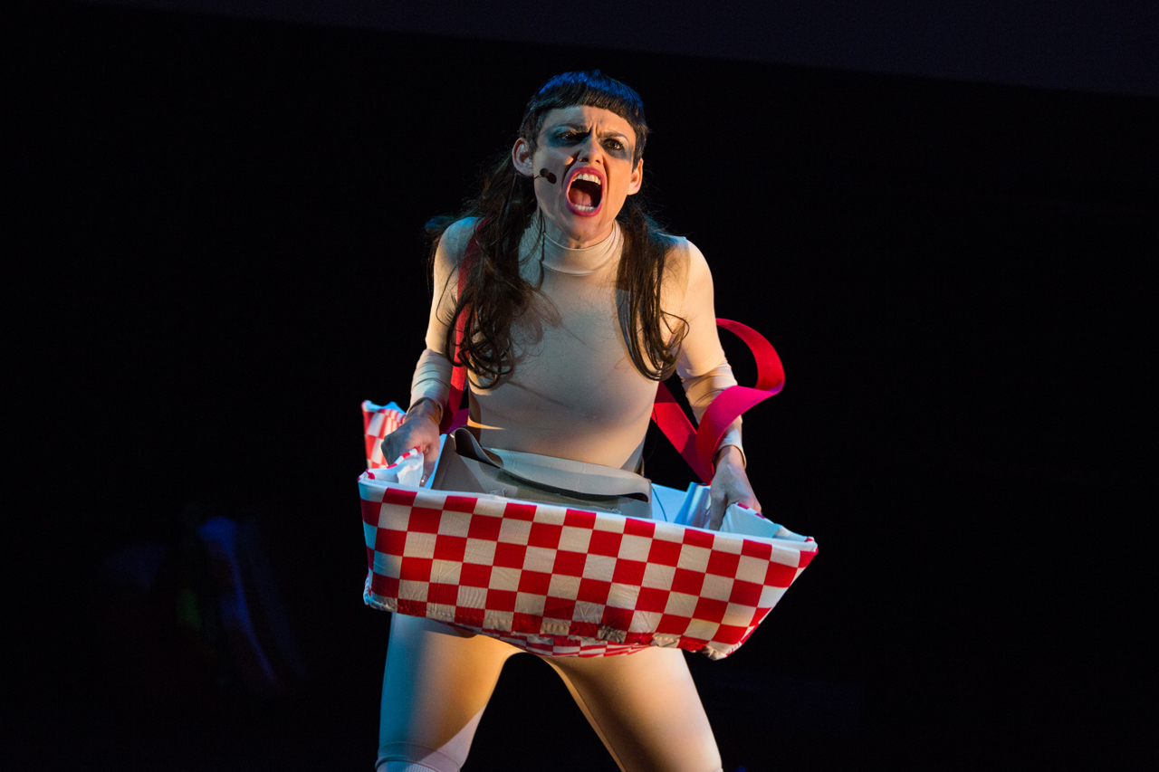 Dynasty Handbag performing 'Soggy Glasses: A Homo's Odyssey' at BAM (click to enlarge)