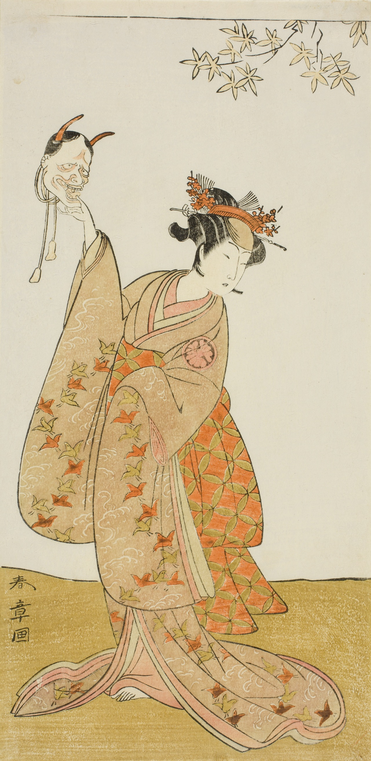 Katsukawa Shunsho. The Actor Segawa Yujiro I as Matsukaze, Sister of Togashi no Saemon, in the Play Gohiiki Kanjincho (Your Favorite Play Kanjincho [The Subscription List]), Performed at the Nakamura Theater from the First Day of the Eleventh Month, 1773, c. 1773. The Art Institute of Chicago. Clarence Buckingham Collection.