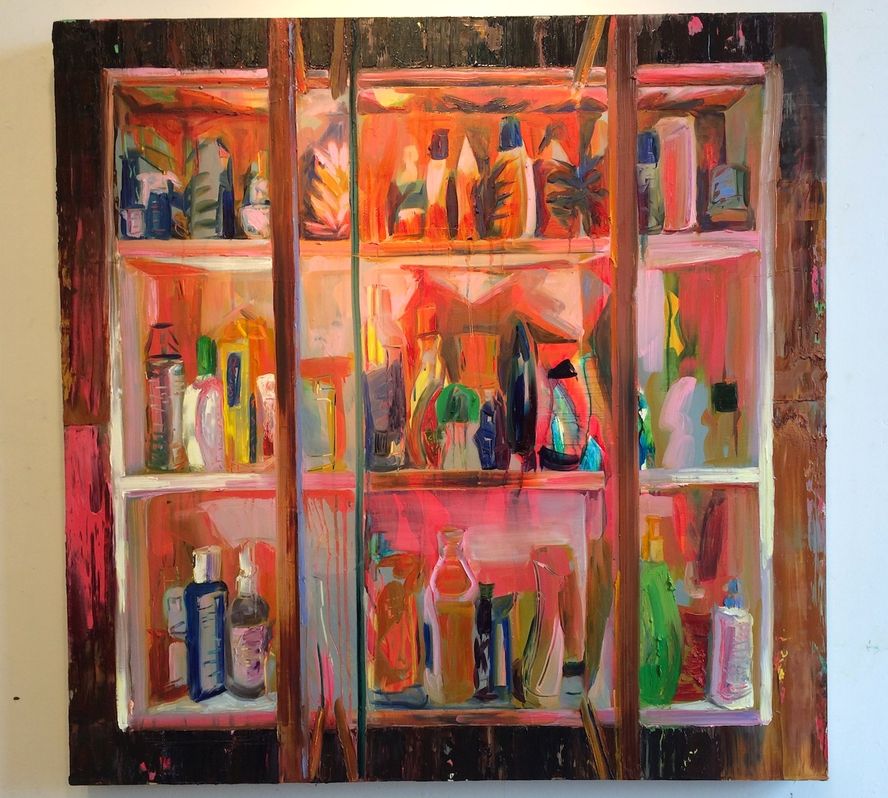 """A painting by Rachel Schmidhofer, """"Chapstick,"""" in the artist's studio at 126 13th Street"""