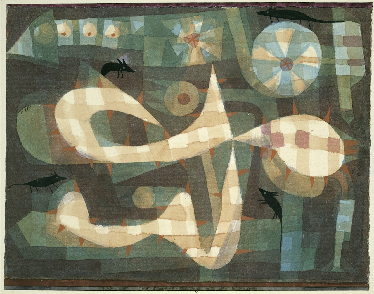 The Barbed Noose with the Mice. 1923. Watercolor and gouache on paper, bordered with gouache. The Berggruen Klee Collection, 1987 (1987.455.13).