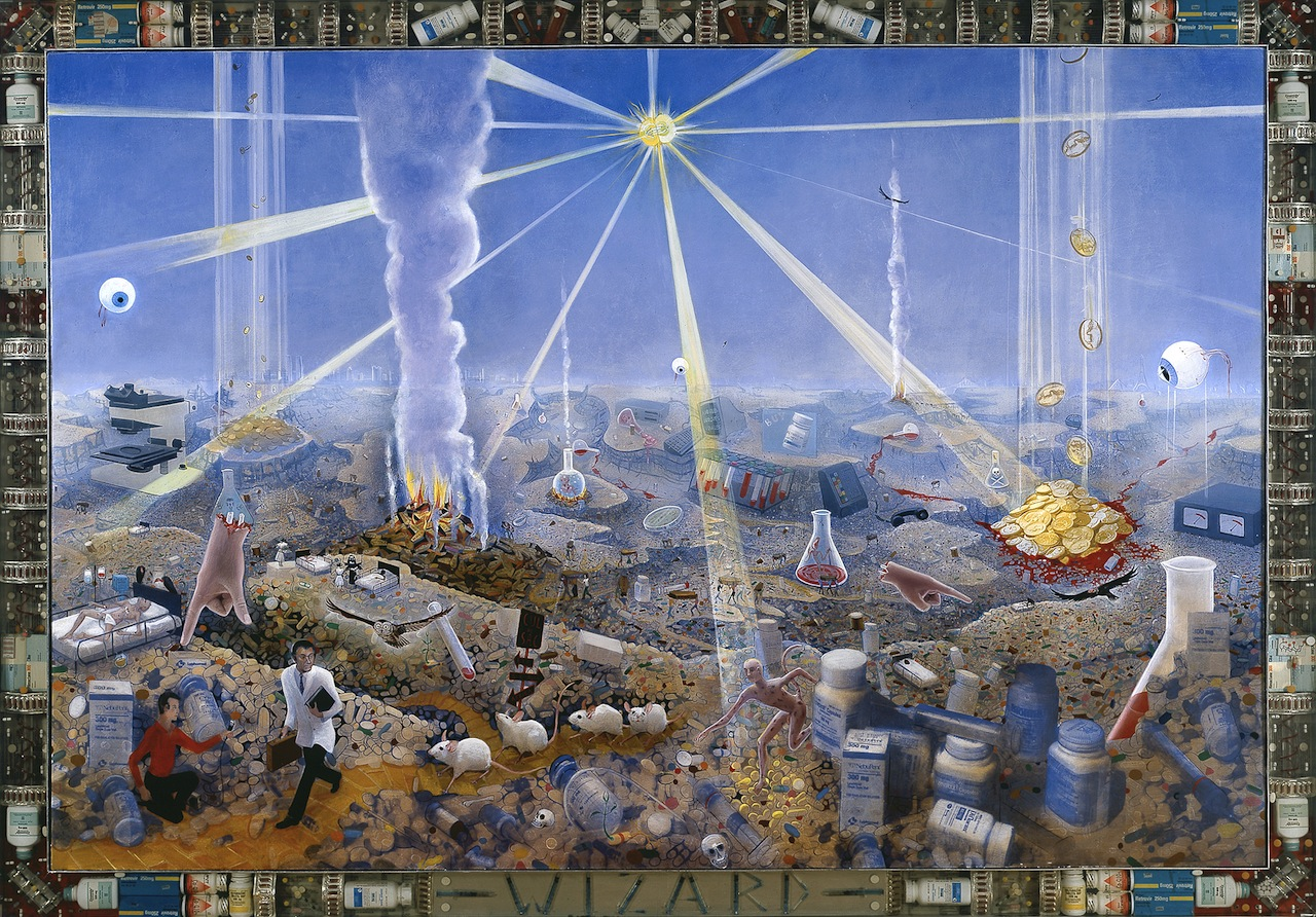 Frank Moore Wizard, 1994 oil on canvas with pharmaceuticals cast in lucite in aluminum frame 68 x 95 1/2 in. (172.7 x 242.6 cm)  SW 94116