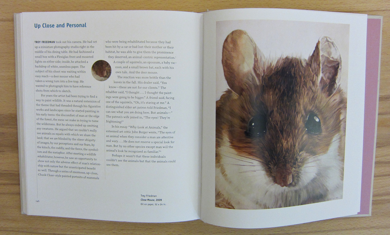 """Art by Trey Friedman in """"Mouse Muse: The Mouse in Art"""" (photograph of the book by the author for Hyperallergic)"""