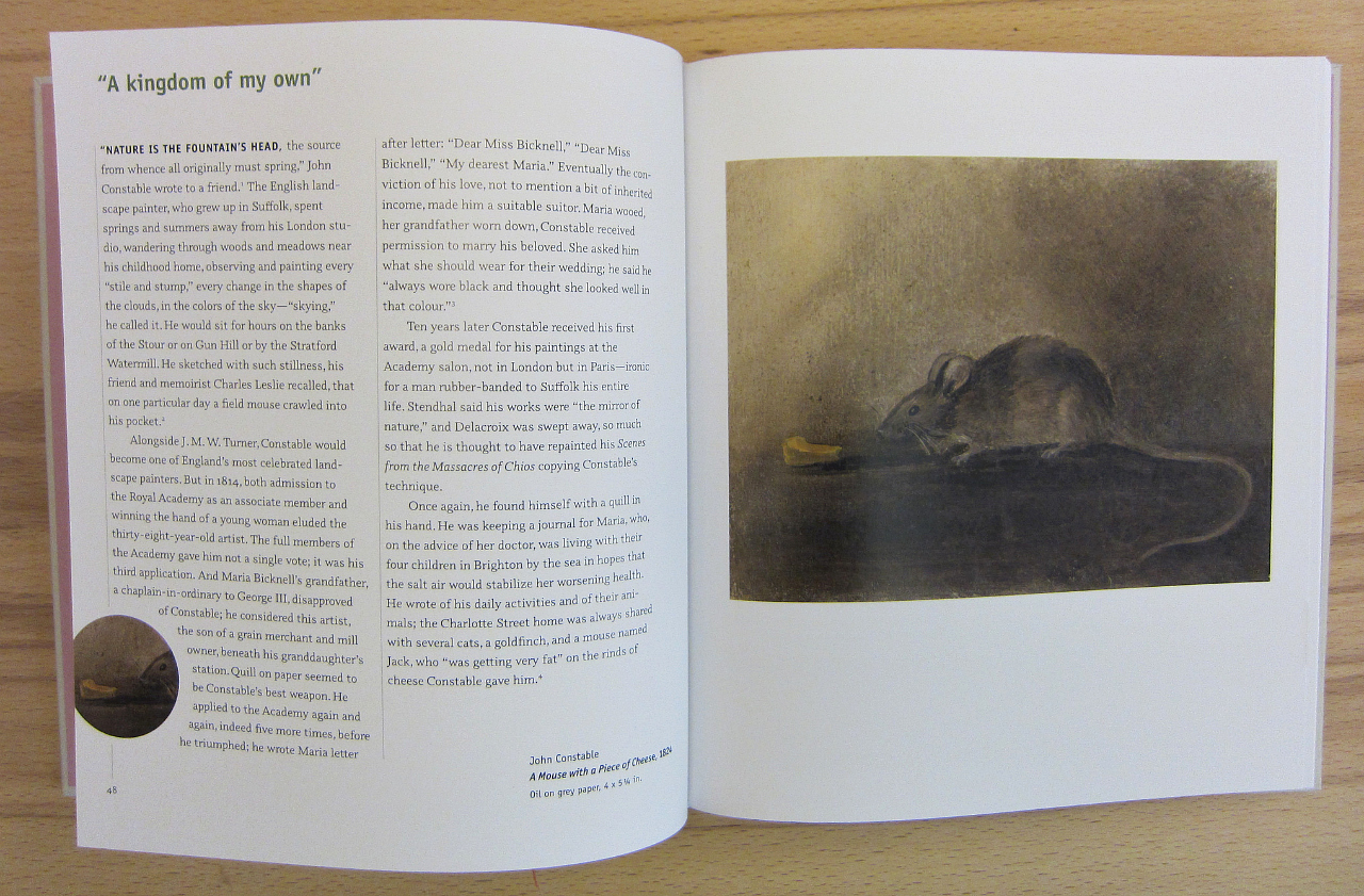"""Art by John Constable in """"Mouse Muse: The Mouse in Art"""" (photograph of the book by the author for Hyperallergic)"""