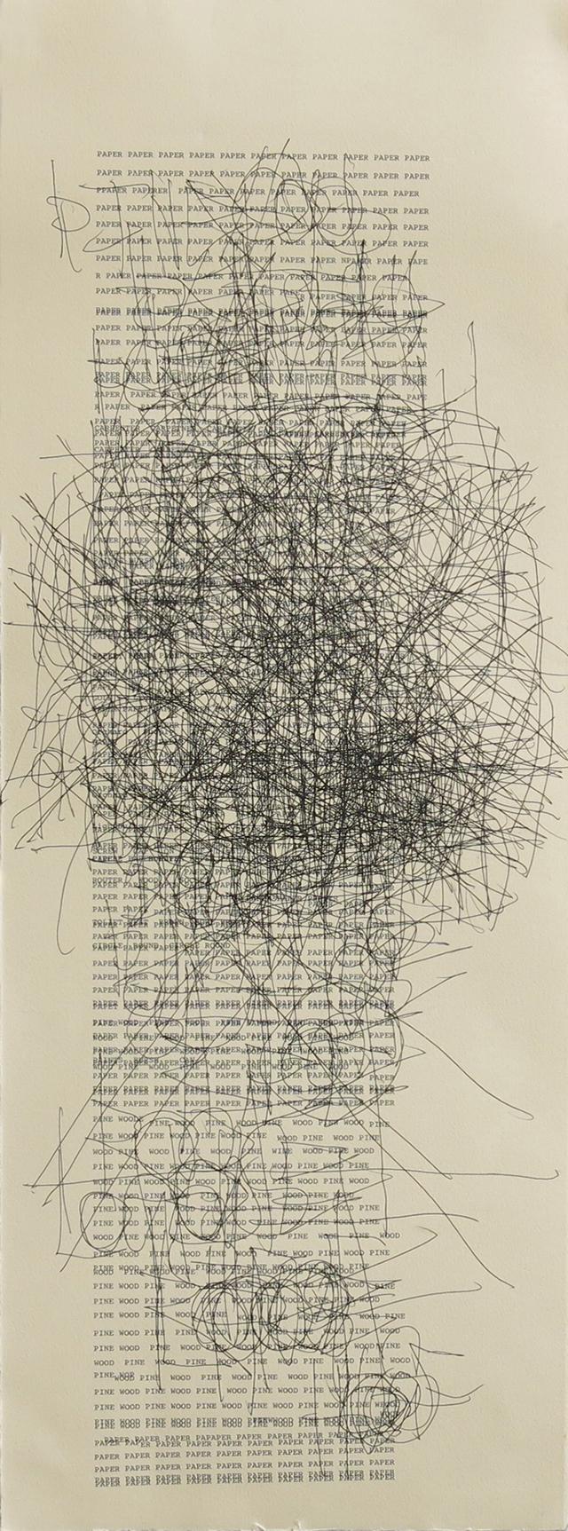 "Dan Miller, ""Untitled (Lumber)"" (2014), typewritten text on paper, 11""x30"""