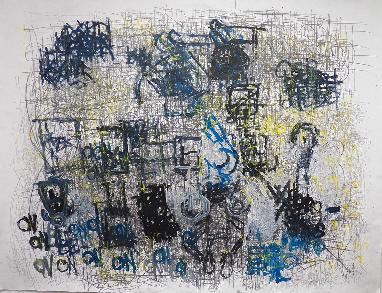"""Dan Miller """"Untitled (blue 'ON' and yellow with graphite)"""" (2011), acrylic and graphite on paper (all images courtesy Ricco Maresca Gallery)"""
